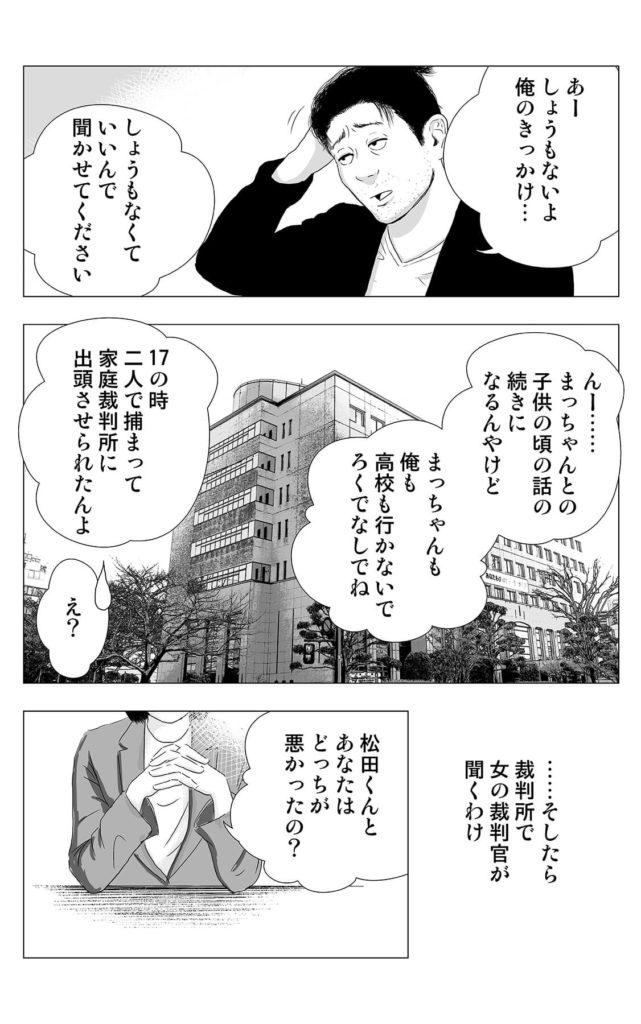 ……そしたら 裁判所で 女の裁判官が 聞くわけ  松田くんと あなたは どっちが 悪かったの?  まっちゃんも 俺も 高校も行かないで ろくでなしでね  え?  しょうもなくて いいんで 聞かせてください  あー しょうもないよ 俺のきっかけ…  17の時 二人で捕まって 家庭裁判所に 出頭させられたんよ  んー…… まっちゃんとの 子供の頃の話の 続きに なるんやけど